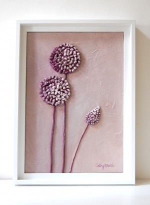 Allium Painting – Mixed Media Original – Lavender Lilac Textured Work in String and Pigments