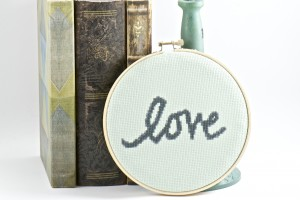 Inspirational Words Love Pale Green Finished Cross Stitch