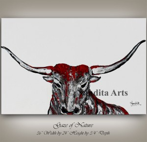 Animal bull painting, original painting on canvas, animal painting, grey, black & red bull home decor modern wall art bull head, bull horns