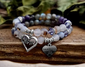 Mother Daughter Matching Purple Swarovski Bracelets