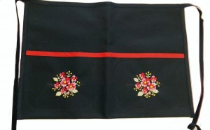 Heavy Duty Navy Apron with Embroidered Pockets