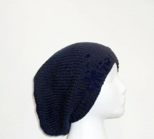 Slouchy beanie hand knitted navy blue fits men or women