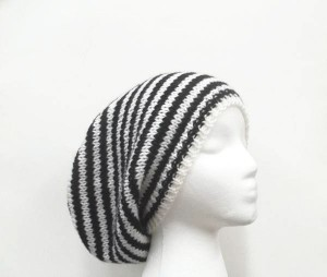 Black and white striped slouchy beanie hat handmade