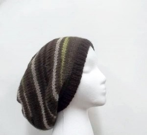 Wool slouchy beanie hat, hand knitted for men or women