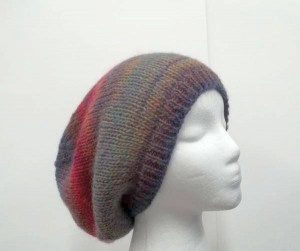 Colorful hand knitted slouchy hat large size