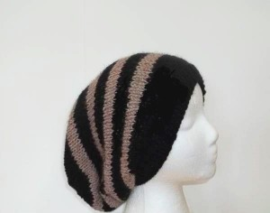 Knited oversized beanie black and brown stripes large size