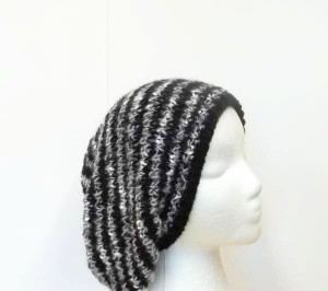 Slouch hat hand knitted hat black, gray and white stripes