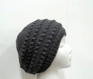 Dark gray hand knitted beanie with eyelets   5261 Dark gray hand knitted beanie with eyelets   5261 Dark gray hand knitted beanie with eyelets   5261