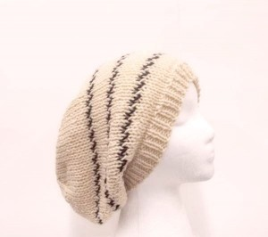 Hand knitted slouchy beanie hat light bone color