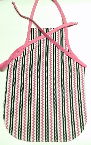 Child's Craft Apron in Black and Pink Stripes