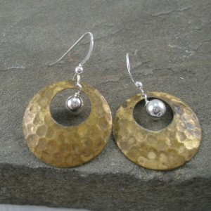 Brass and a Blink of Silver Earrings