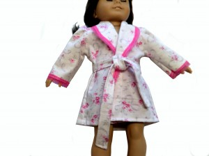 American Girl Bathrobe in Pink and White