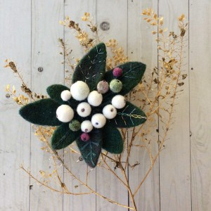 Handmade felted brooch Snowberry