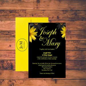 affordable Wedding Invitation yellow and Black