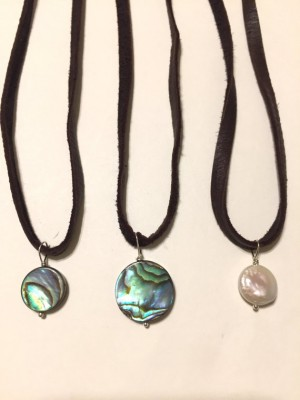 Abalone and Pearl Choker Necklaces