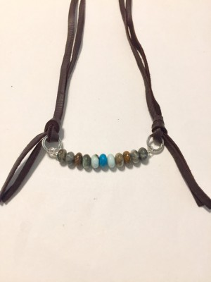 Leather and Turquoise Necklace