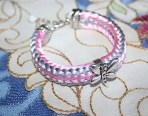 Braided bracelet. Rattail satin cord with metal dragonfly. Pink and Grey. Handmade.