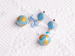 Clip earrings with mini world pendant made in polymer clay
