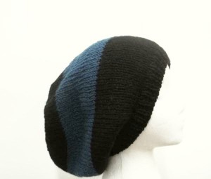 Blue Slouchy beanie hat, large stripe for men or women