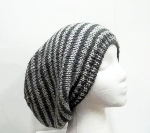 Light gray and dark gray stripes Slouchy beanies hat , large size