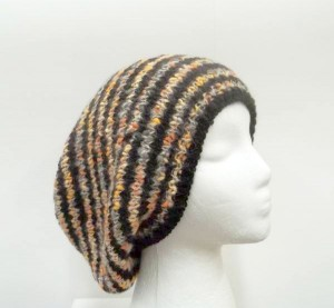 Oversized beanie hat multi color stripes large size
