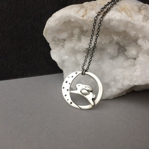 Angel Bunny Over The Moon Pendant, Spirit Animal Jewelry, Whimsical Flying Rabbit, 24″ Oxidized Chain Necklace, Celestial Moon Jewelry Gift