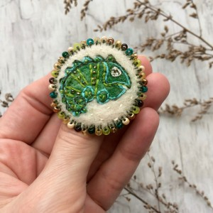 Handmade embroidered pin Chameleon