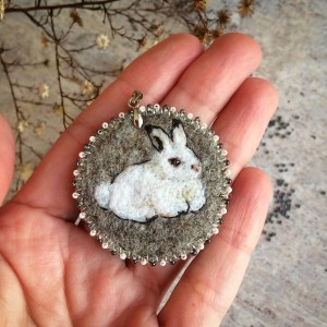 Felted embroidered pendant Leveret