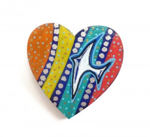 Wooden Brooch, Heart Pin, Bird Brooch, Wooden Heart, Hand Painted Brooch, Painted Jewelry, Heart Badge, Laser Cut Jewelry, Wooden Jewellery