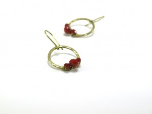 Red crystals golden earrings, Small circles earrings