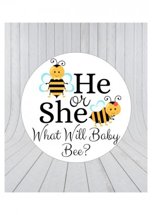 12 x What will baby bee stickers, he or she stickers, baby shower favour stickers, bee baby shower, gender reveal stickers, 045