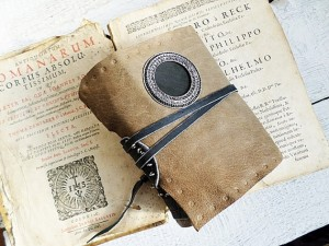 Grey Soft Leather Journal coffee stained paper