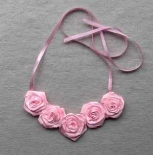 Rose necklace Pink flower textile Boho