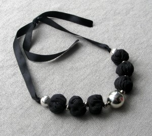 Jeans Denim Cotton Black Silver bead necklace Boho