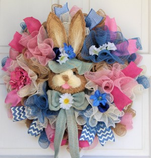 Easter Bunny Wreath, Spring Burlap Mesh Wreath, Bunny Head Wreath, Multi-color Pastel Ruffle, Pink Blue White Tan