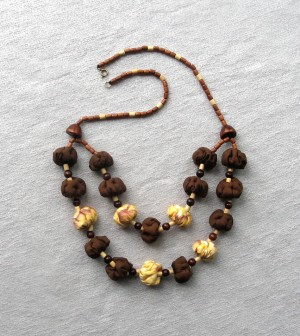 Statement brown and yellow beaded necklace