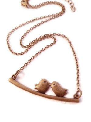 Two Birds on a Branch Antique Brass Necklace