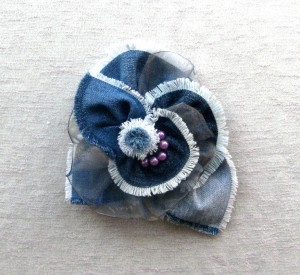 Flower Brooch Blue denim Fabric