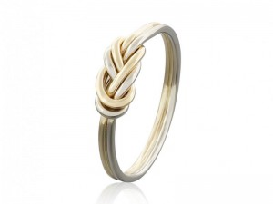 SOLID GOLD CLIMBING KNOT RING, TIED AND DRESSED DOUBLE FIGURE 8 KNOT