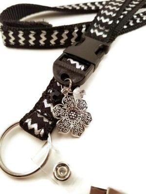 Black & Silver Chevron Lanyard with Charms