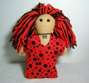 Jax – Light Brown Felt Doll in Red Dress