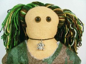 Petra – Light Brown Felt Doll in Camouflage Dress