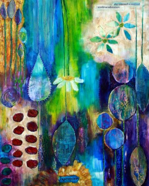 Whimsical abstract art print featuring flowers