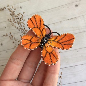 Felted embroidered brooch Butterfly