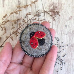 Felted embroidered brooch Ladybird