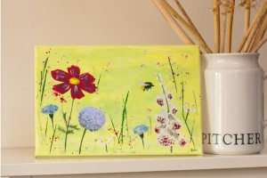 Bumble Bee in Meadow painting in canvas