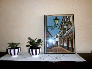 Vintage Cross Stitch Framed Wall Hanging, Framed needlepoint, tapestry, city landscape embroidery,