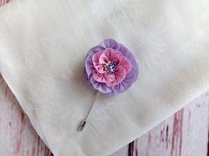 Violet Pink Camellia Flower Pin, Scarf Pin, Hat Pin, Lapel Pin Men, Wedding Boutonniere, Kanzashi Inspired Fabric Flower, Gift for Her/ Him