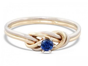 Alternative engagement ring, 14k gold climbing knot ring, tied and dressed double figure 8 knot with a 3mm blue sapphire AAA grade