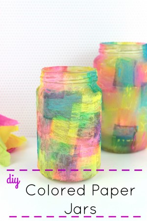 DIY Colored Decoupage Majon Jars